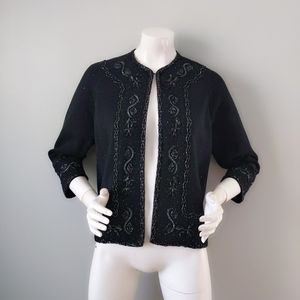 Vtg 60s Hong Kong Black Wool Beaded Cardigan L